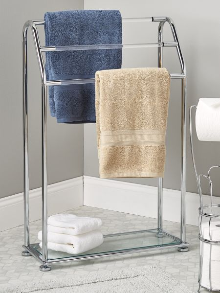 free standing towel rack chrome and glass vermont country store. Black Bedroom Furniture Sets. Home Design Ideas