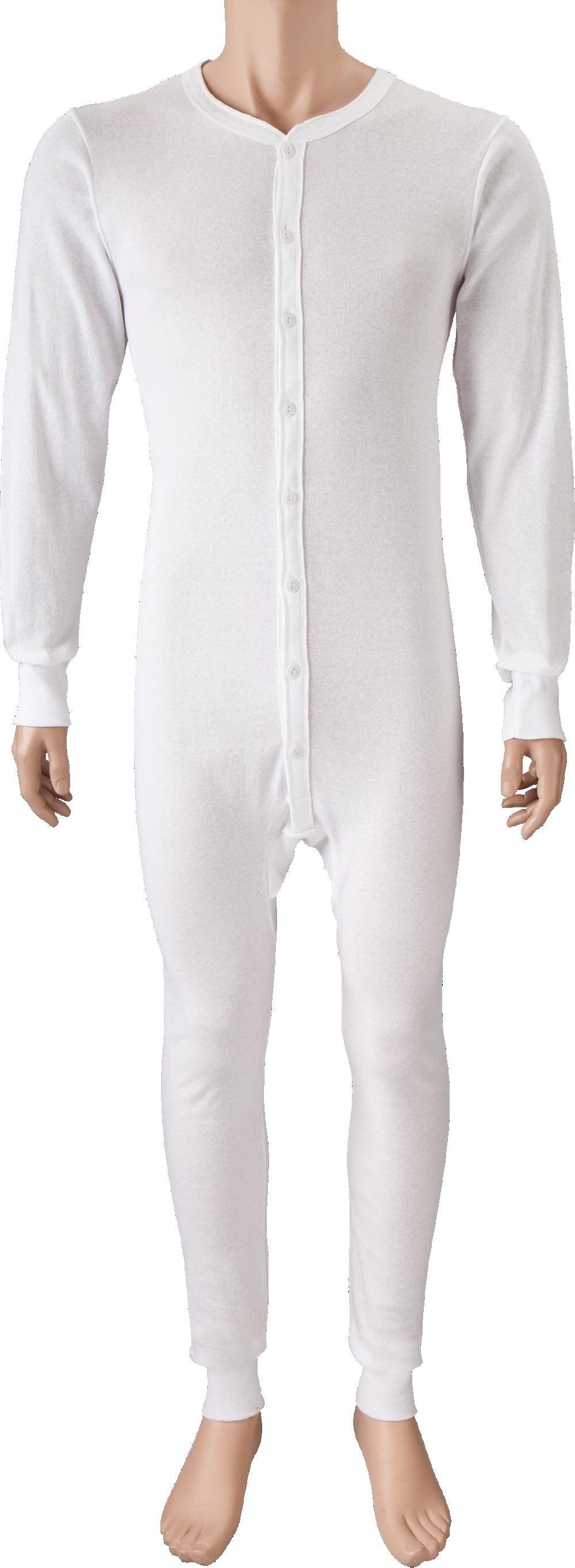 Mens White Union Suit with Seat Flap | Cotton Long Underwear