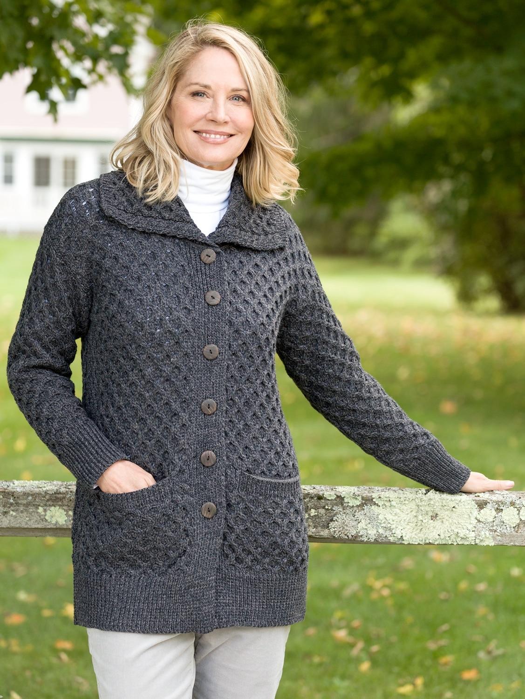 Womens Merino Wool Cardigan Long Irish Knit Sweaters