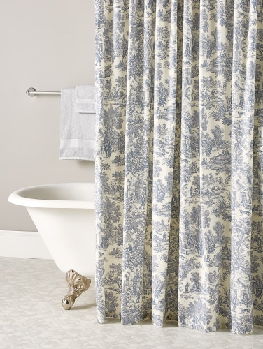 French Toile Patterned Shower Curtain