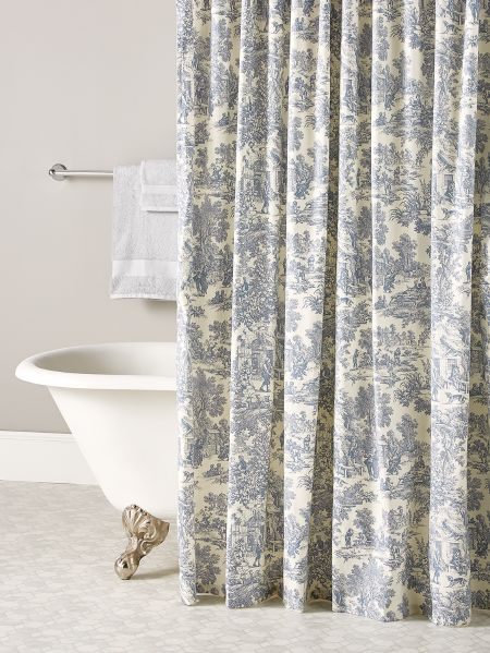 French Toile Patterned Shower Curtain, Country Decor Shower Curtains