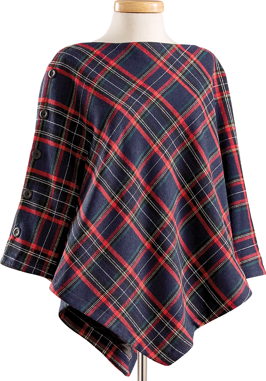 Women's Lined Wool-Blend Tartan Poncho