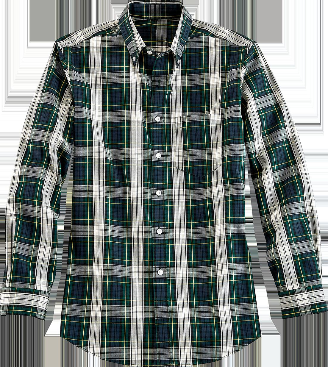 Orton Brothers Wrinkle-Free Long-Sleeve Tartan Oxford Shirt for Men
