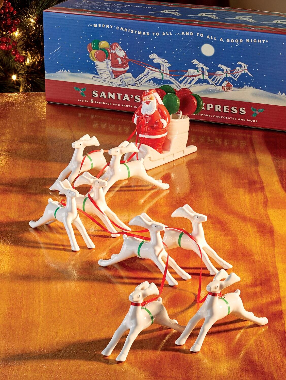 Old Time Santa Christmas Angels Reindeer Sleigh