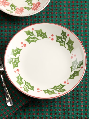 Christmas Dinnerware.Holly And Sprig Dinner Plates Set Of 4