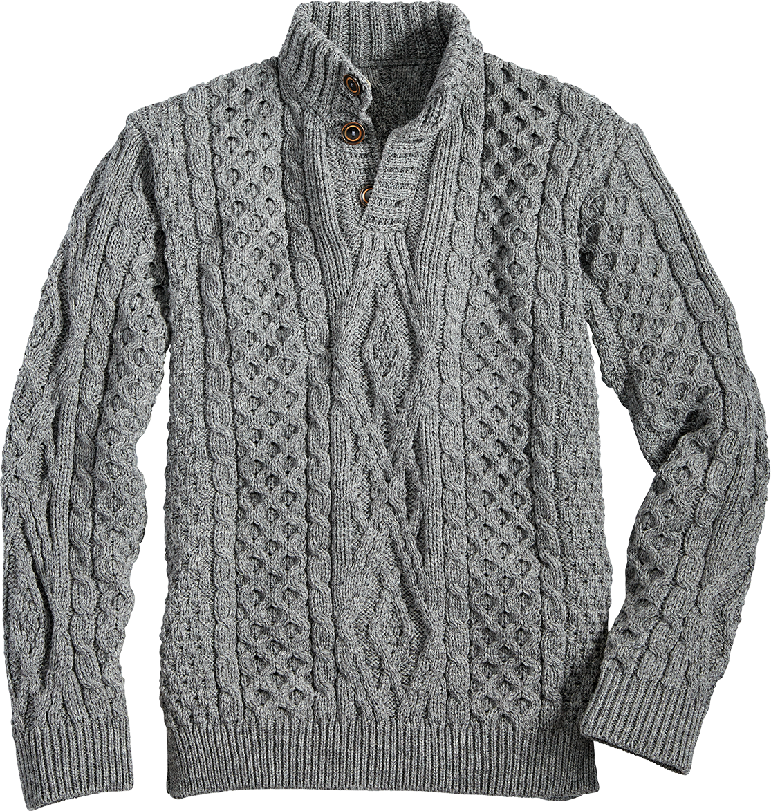 Mens Button Neck Cable Sweater
