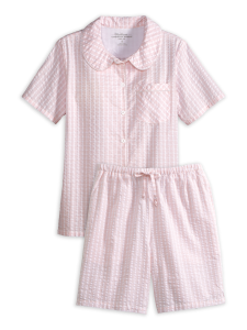 4b609ebad081 Pink Check Seersucker Shortie Pajama Set
