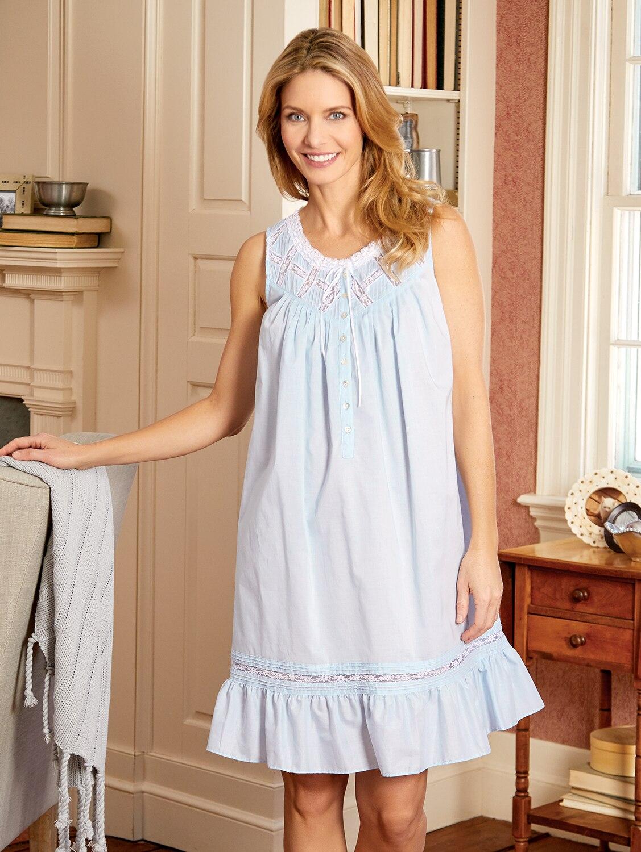 Moonlight Sonata Nightgown Eileen West Short Cotton Sleeping Gown