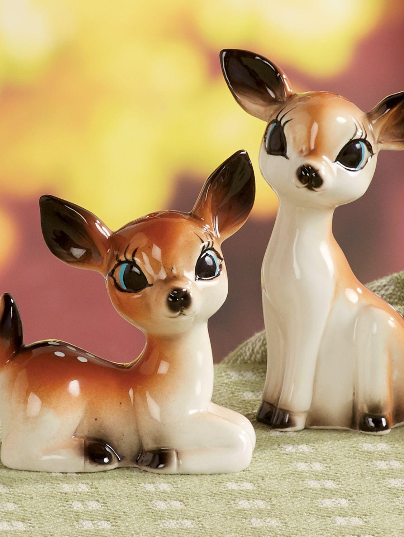 59f9dba7029 Vintage Ceramic Deer Salt and Pepper Shakers
