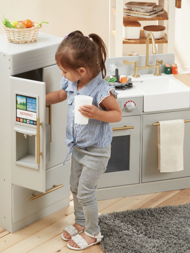 Modern Wood Play Kitchen for Kids
