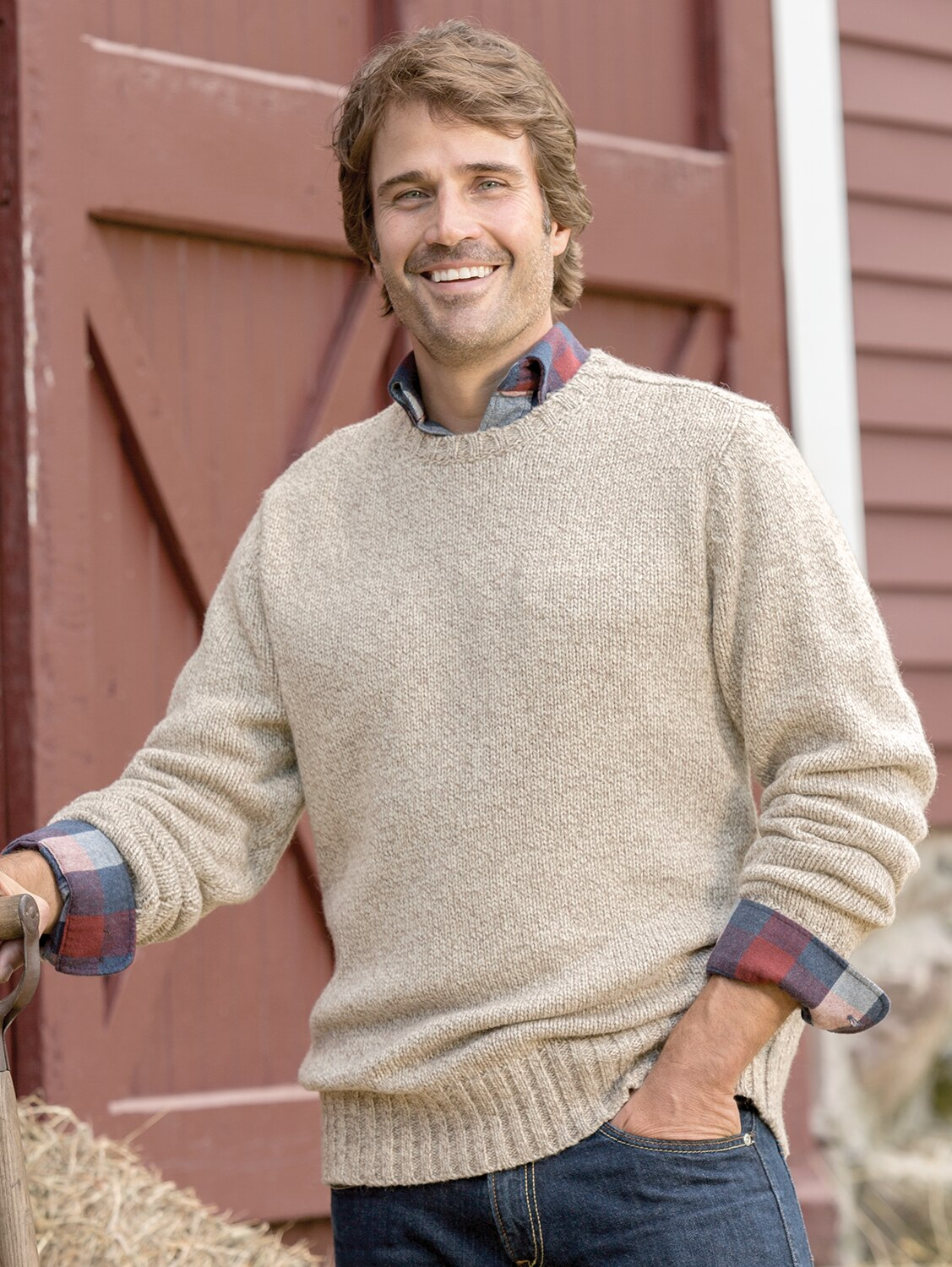 Mens Acrylic Ragg Wool Crew Neck Sweater