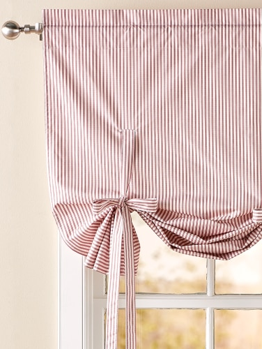 Insulated Ticking Stripe Tie Up Balloon Valance