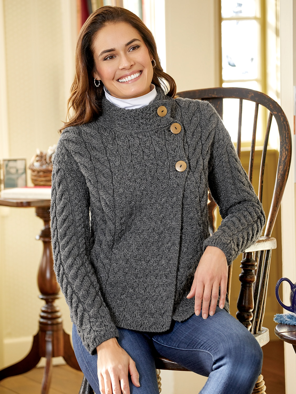 Women's Irish Supersoft Wool Asymmetrical Cardigan