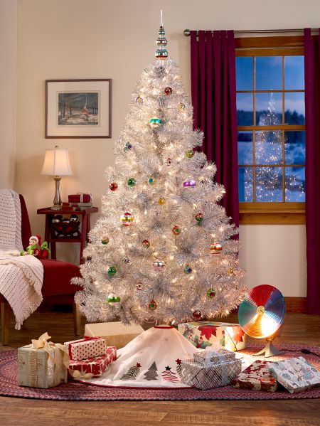 Tinsel Christmas Tree With Lights - Silver Tinsel Tree With Lights Vermont Country Store
