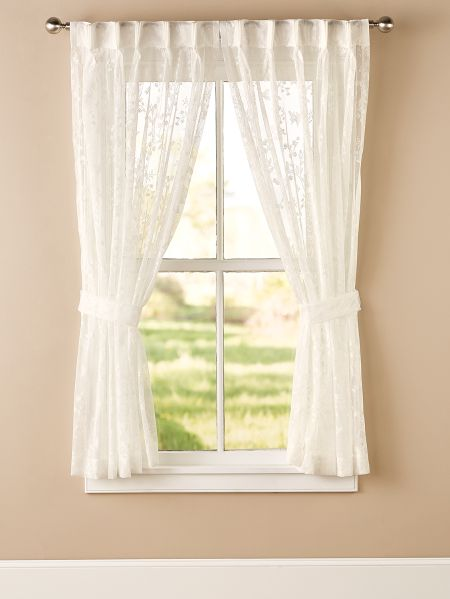 Butterfly Lace Curtains With Back Tabs