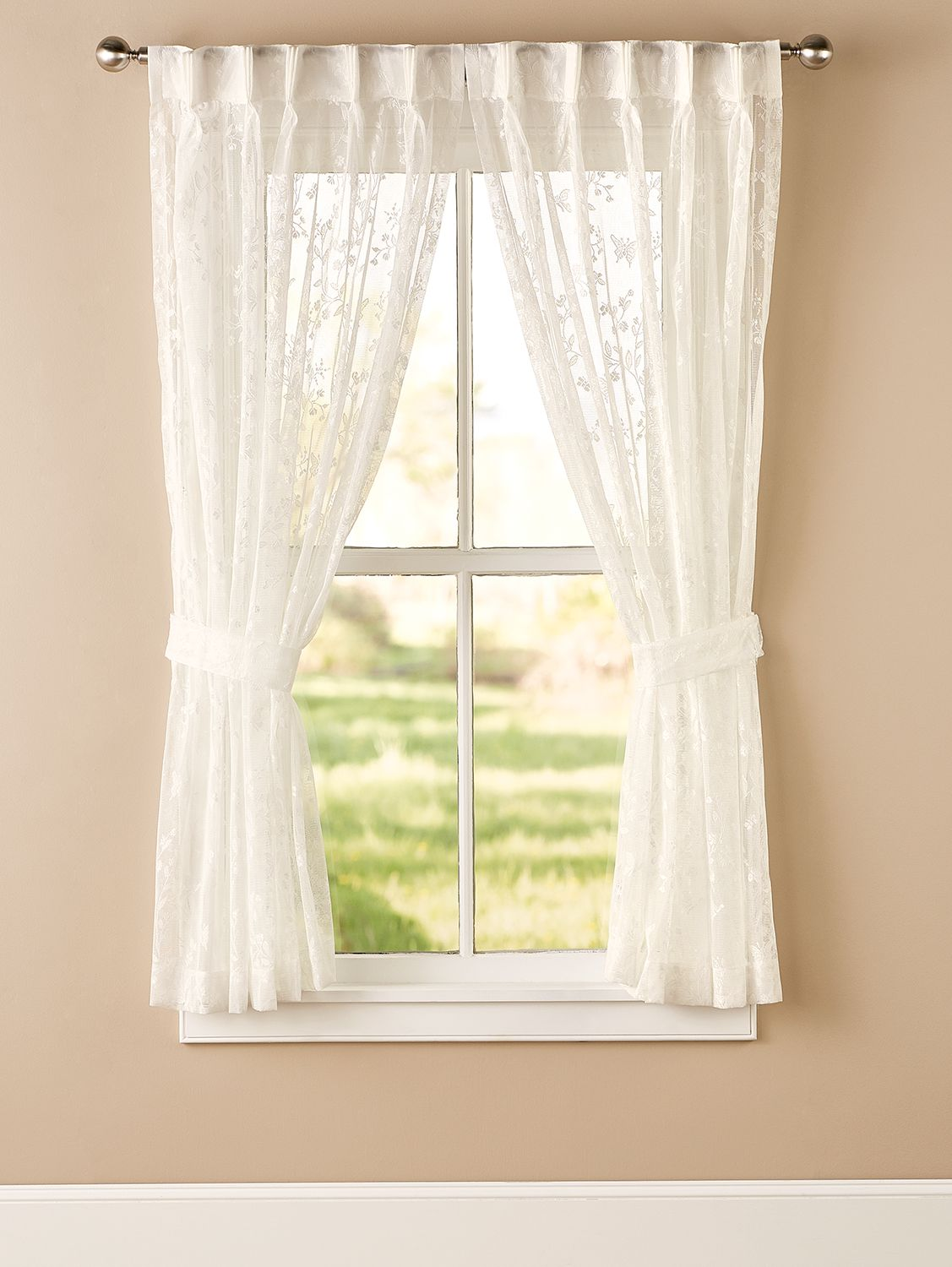 Butterfly Garden Lace Pinch Pleat Back Tab Curtains