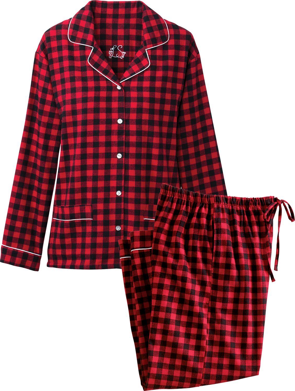 07428707c541d Lanz Buffalo Check Flannel PJs   Button Front Cotton Pajamas