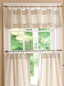 ticking stripe tailored valance - Kitchen Curtain