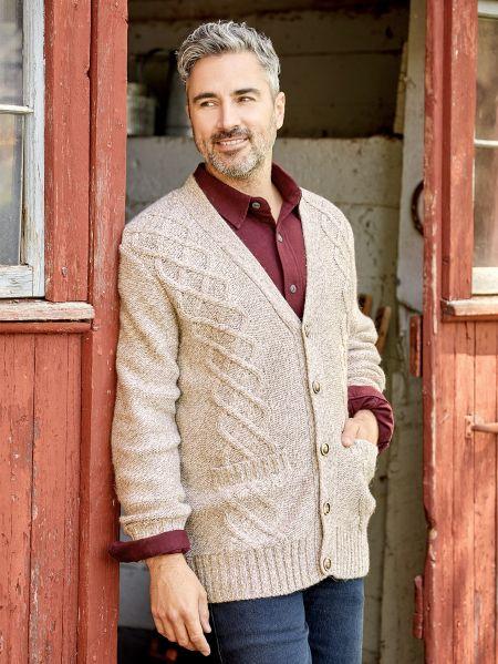 Ragg Wool Blend Cardigan for Men