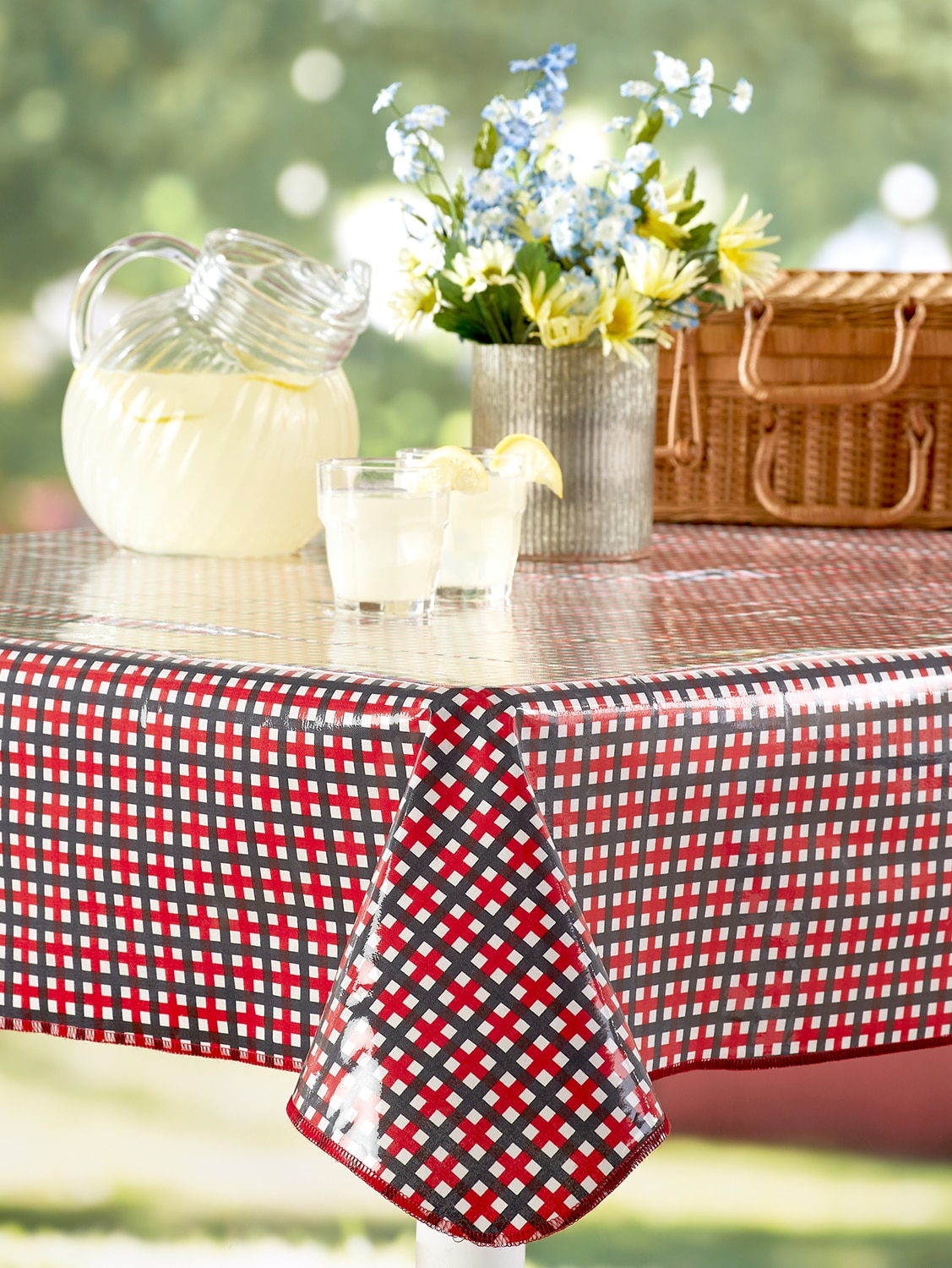 Retro Picnic Garden Check w//Flowers Disposable Tablecover 84x54 HAPPY DEALS ~ Camping Tablecloth
