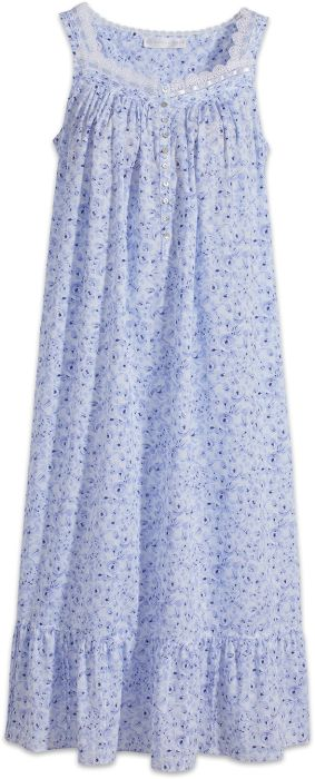 9f5932e876 Blue Cotton Nightgown with Shell Buttons by Eileen West