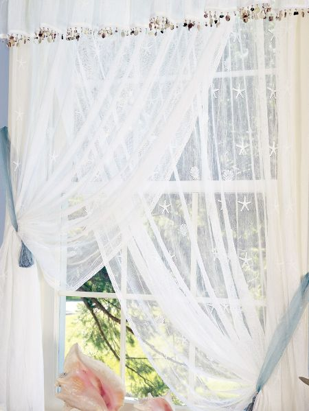 Seaside Lace Rod Pocket Curtain Panels And Tiers