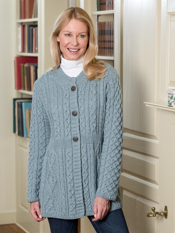 Womens Irish A Line Cardigan Aran Merino Wool Sweater