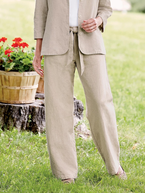 Cotton Linen Pants For Women Wide Leg Linen Bottoms