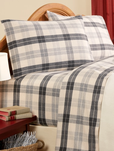 Heathered Flannel Sheets Cotton Plaid Sheet Set