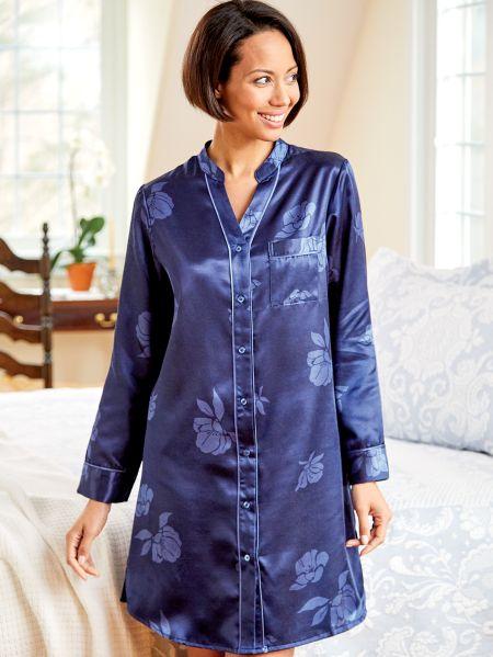 9437f0ed40 Satin Sleepshirt for Women - Orchid Print Nightshirt