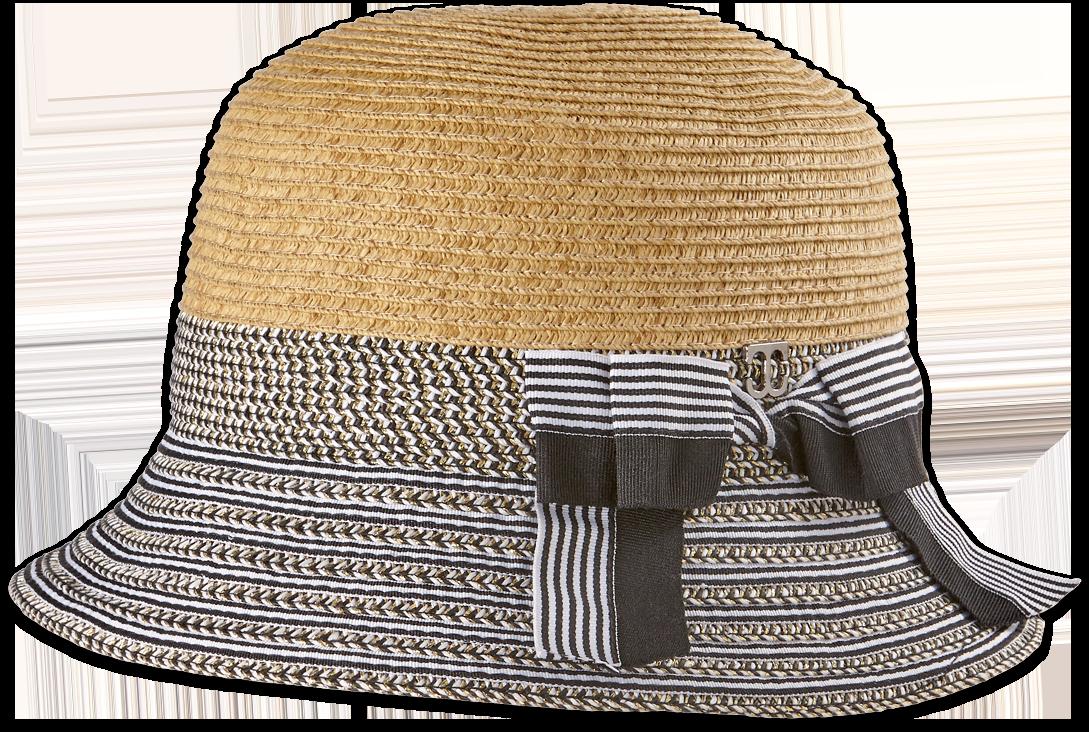 Women's Two-Tone Straw Cloche Hat