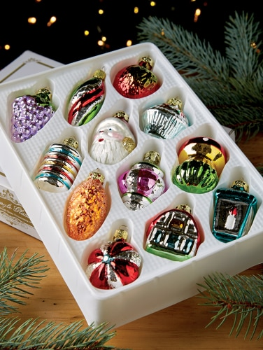 Christmas Ornament Sets.Old Fashioned Glass Ornament Collection Set Of 12