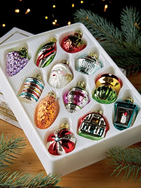 Box Of 12 Old Fashioned Gl Ornaments