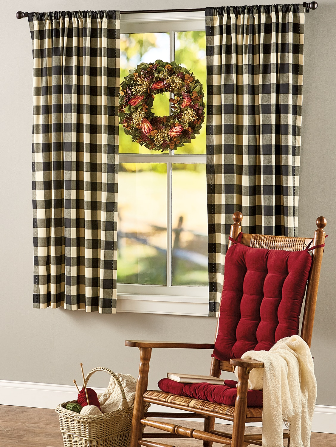 Red White Tie-up Window Curtain Shade Large Buffalo Check 100/% Cotton 42 W x 63L
