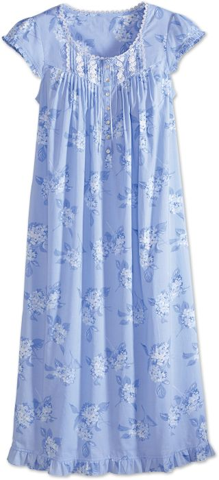 Eileen West All-Cotton Nightgown with Hydrangea Print 254121650