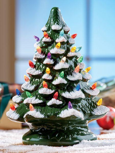 ceramic christmas tree with colorful plastic bulbs
