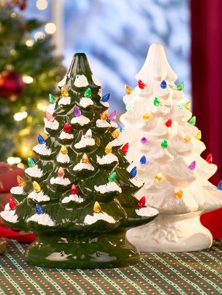 Ceramic Christmas Tree - Ceramic Christmas Tree With Colorful Plastic Bulbs