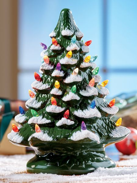 Ceramic Christmas Tree With Colorful Plastic Bulbs