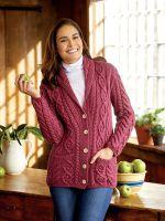 Womens Merino Wool Full Zip Irish Sweater