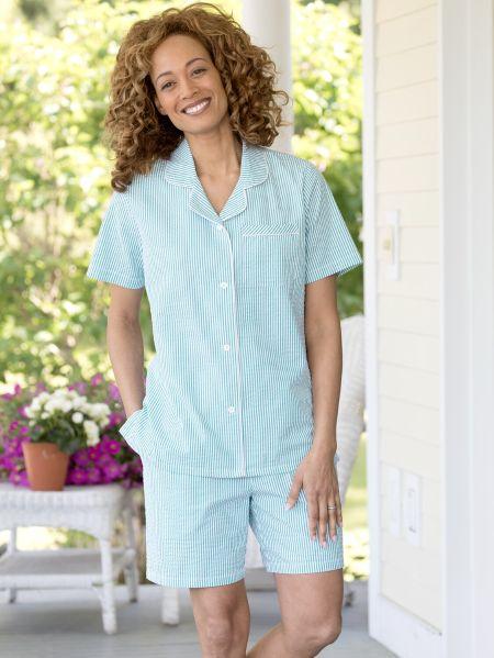 71d4b0f389 Womens Seersucker Shortie Pajamas