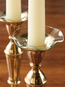 Wavy Rim Crystal Glass Bobeches - Clear Candle Rings