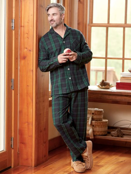 Button Front Flannel Pajamas For Men 9ef477724