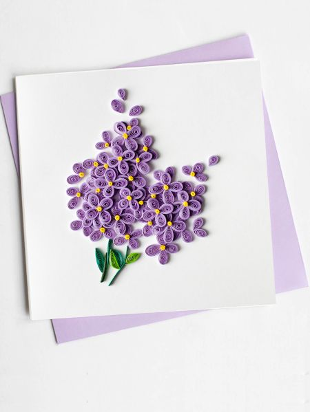 handcrafted cards with quilled lilac flowers