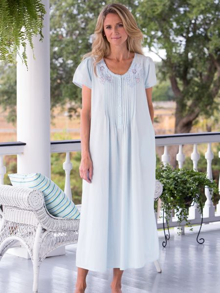 b90baa8795 All-Cotton Nightgown with Pockets - Short Sleeve Nightdress