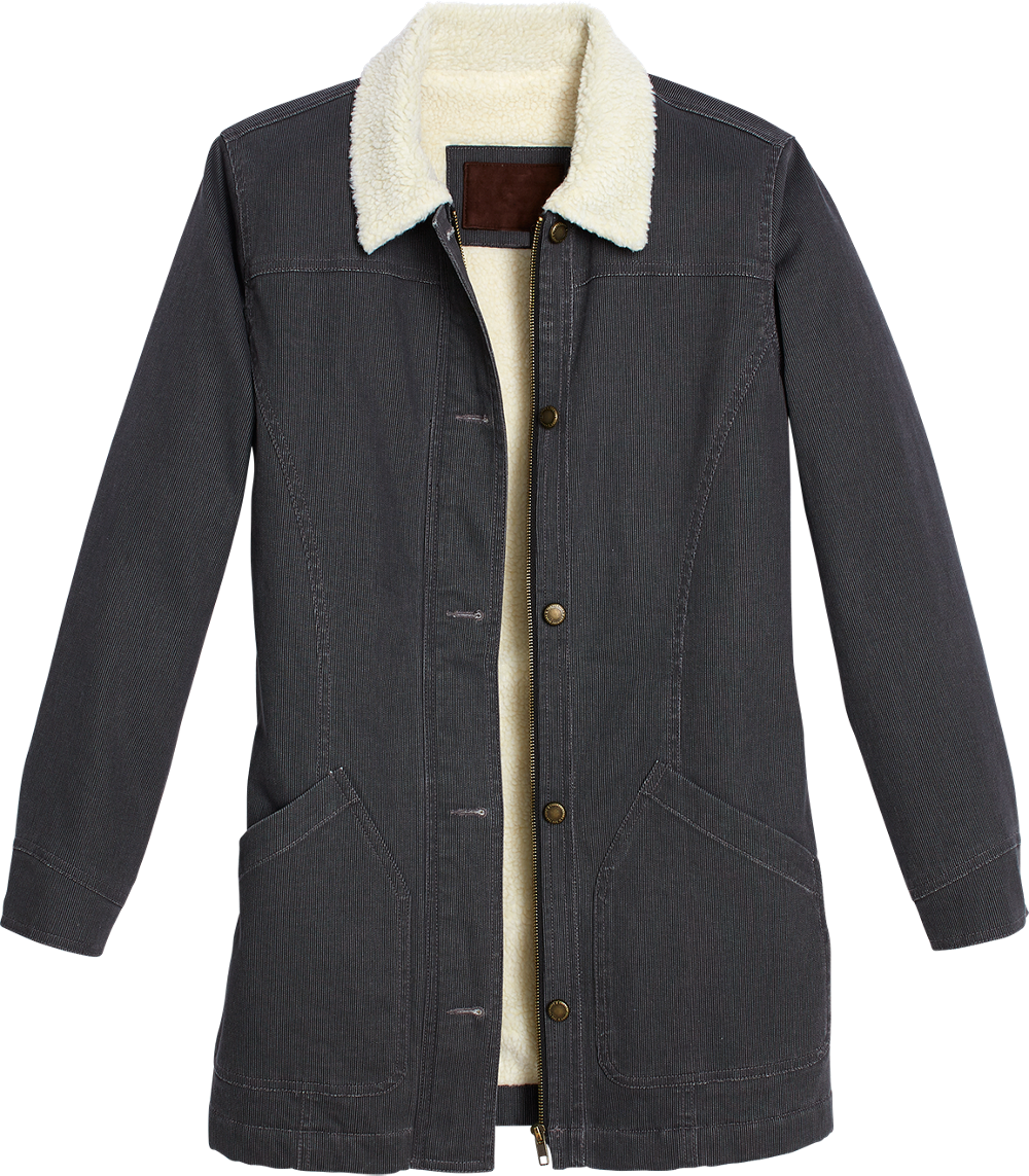 Womens Sherpa Fleece Lined Cotton Jacket with Pockets