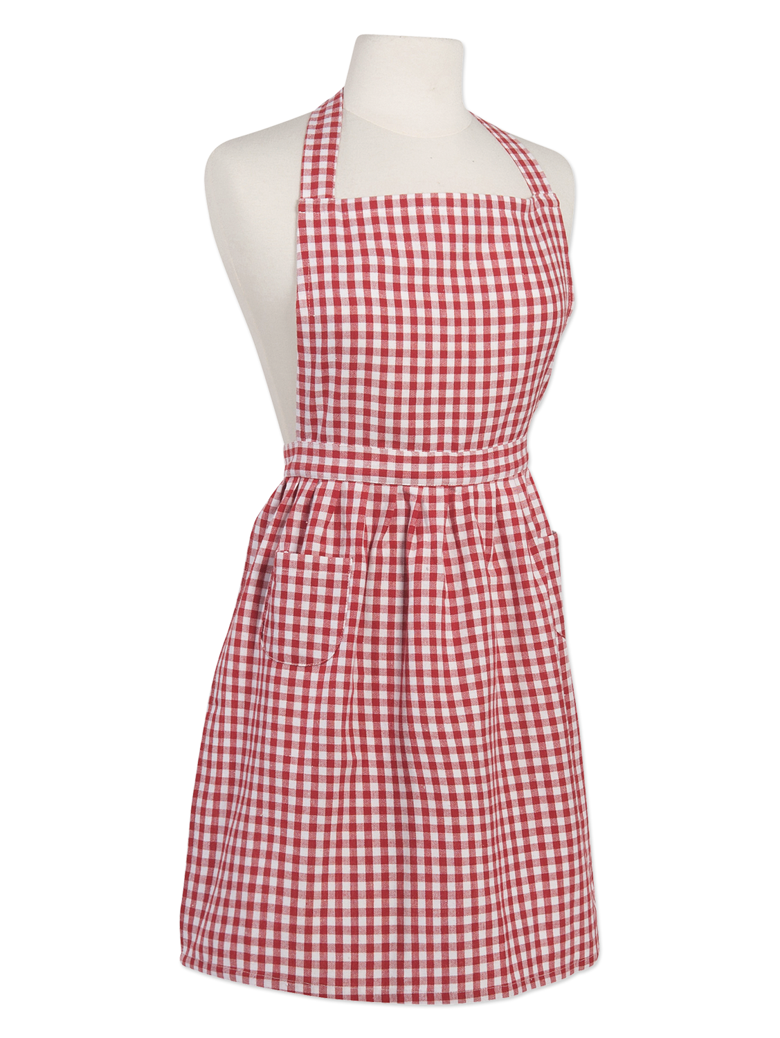 Frilly Red Gingham Check Cotton Apron