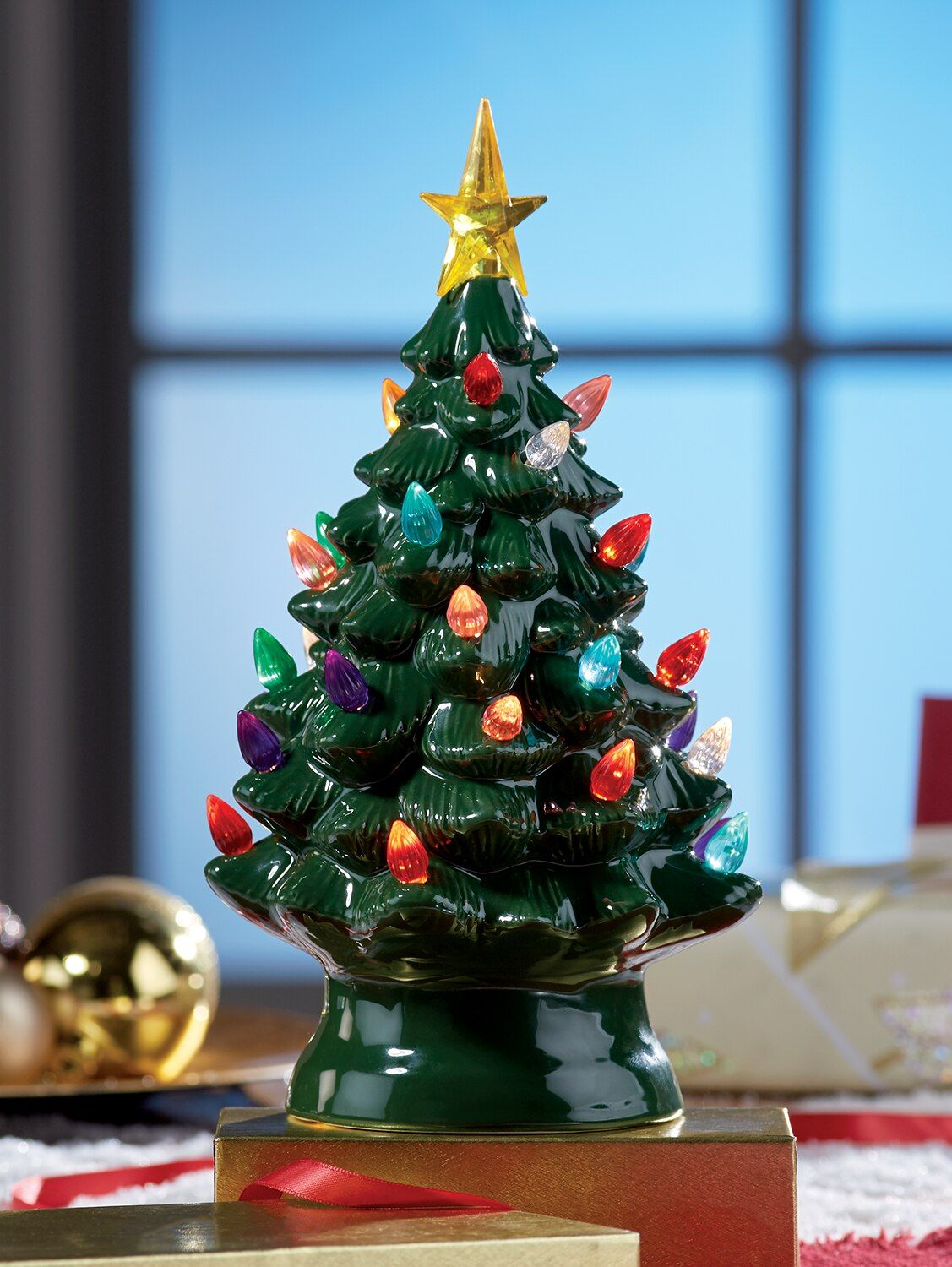 Plug In Ceramic Christmas Tree
