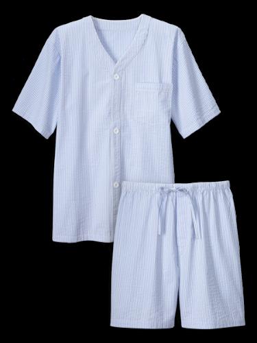 Mens Cotton Seersucker Pajamas Lightweight Pjs