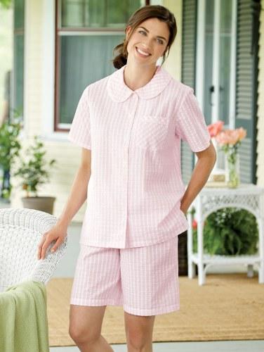 Pink Check Seersucker Shortie Pajama Set