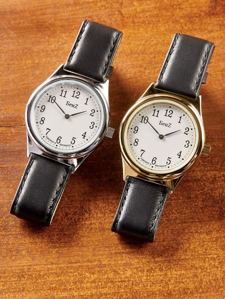 wind up watch for men black leather band gold or silver tone wind up watch for men